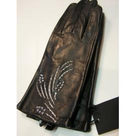 "Gant noir  brodé ,taille 8""Glove Story"""