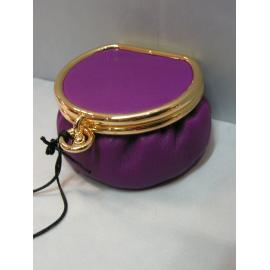 Porte monnaie rond en cuir violet
