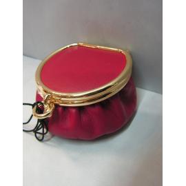 Porte monnaie rond en cuir rouge pourpre