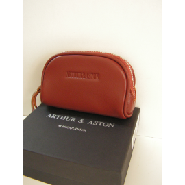 """Porte monnaie simple en cuir noir  """"Arthur et Aston"""""""