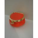 Porte monnaie rond en cuir orange