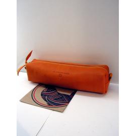 """Trousse en cuir orange clair""""Jean Louis Foures"""""""