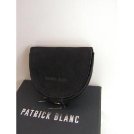 """Porte monnaie plat en cuir noir """"Patrick Blanc"""""""